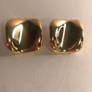 Avon Gold Tone Square Earrings